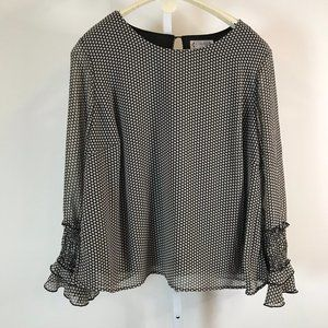 Nanette Lepore Black and Tan Polka Dot Top 2X